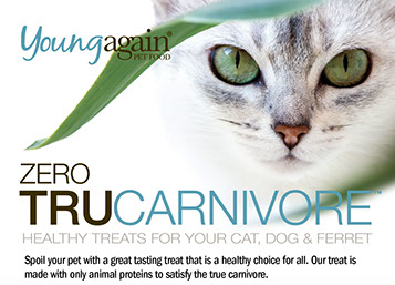 Young Again TruCarnivore Cat Treats. Formulated for cats and ferrets with a low tolerance to starch.