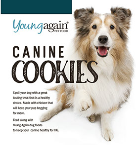 Young Again Canine Cookies, a healthy treat for your dog.