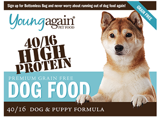 Young Again Dog Food 40/16 High Protein. Formulated for all dogs from puppies to adults.