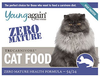 Young Again Zero Mature Health. Formulated for adult cats no longer growing bone. Contains less than 1% starch.