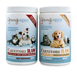 Young Again Carnivore Raw Supplements. Formulated for those feeding a raw diet.